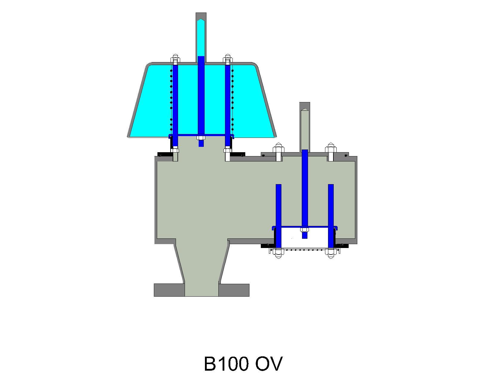 B100 open vent pressure relief valve